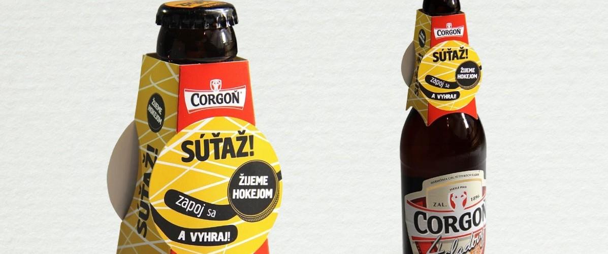 Pivo Corgoň Neckhanger - grafický návrh podľa CI, DTP (pre reklamnú agentúru SCR)