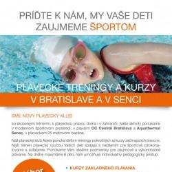 Reklamný leták plavecký klub Azeta